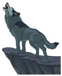 Howling Wolf on Cliff Sticker