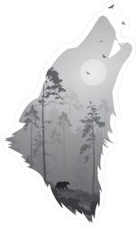 Howling Wolf Silhouette Sticker