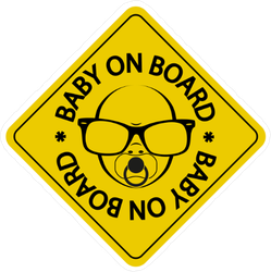 Huge Sunglasses Baby on Board Sticker
