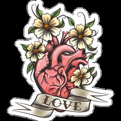 Human Heart, Flowers And Love Tattoo Sticker