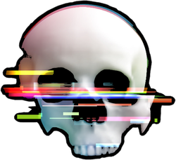 Human Skull Glitch Sticker