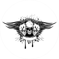 Human Skulls With Barbwire And Tribal Wings Sticker