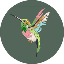 Hummingbird In Embroidery And Sequins Sticker