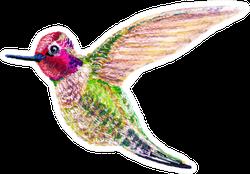 Hummingbird In Flight Bright, Colorful Tropical Bird Sticker