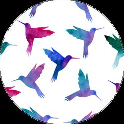 Hummingbird Watercolor Painting Seamless Pattern Sticker