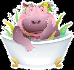 Humorous Hippo In The Bathtub Sticker