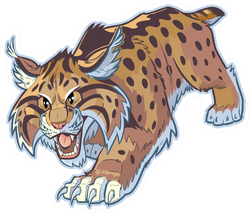 Hungry Cartoon Bobcat Sticker