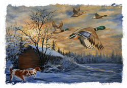 Hunting Dogs Ducks Torn Edges Painting Sticker