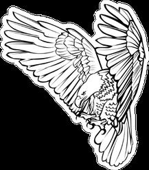Hunting Eagle Line Art Sticker