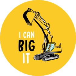 I Can Big It Tractor Illustration On Yellow Sticker