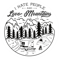 I Hate People And Love Mountains Sticker
