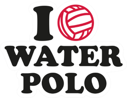 I Heart Water Polo Text Sticker