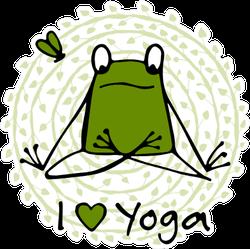 I Heart Yoga Frog Sticker