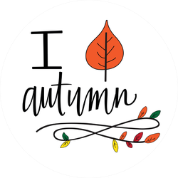 I Love Autumn With Leaf Sticker