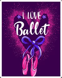 I Love Ballet Glitter Sticker