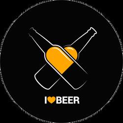 I Love Beer Circle Sticker