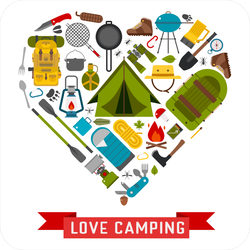 I Love Camping Gear Heart Sticker