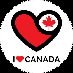I Love Canada Circle Sticker