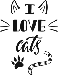 I Love Cats Typography Sticker