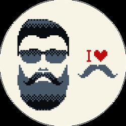 I Love Mustache & Mustache Man Sticker