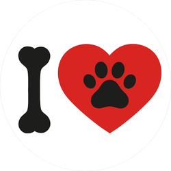 I Love Paw Print Sticker