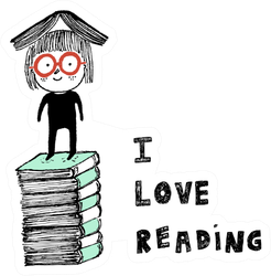 I Love Reading A Girl On Top Of A Pile Of Books Sticker