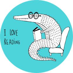 I Love Reading, Crocodile Reading A Book Sticker