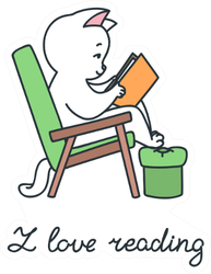 I Love Reading Doodle Illustration Of A Cat Sticker