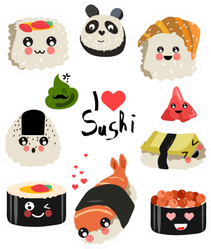 Cute I Love Sushi Rolls Sticker