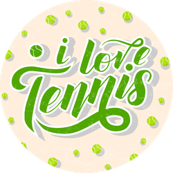 I Love Tennis Green Lettering Sticker