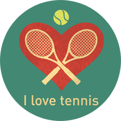 I Love Tennis Retro Sticker
