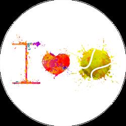 I Love Tennis Watercolor Sticker