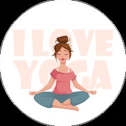 I Love Yoga Girl In Yoga Pose Sticker