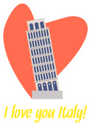I Love You Italy Leaning Tower Of Pisa Heart Sticker