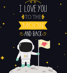 I Love You To The Moon And Back Heart Flag Sticker