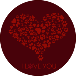 I Love You With Paw Print Heart Sticker
