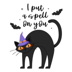 I Put a Spell On You Black Cat Sticker