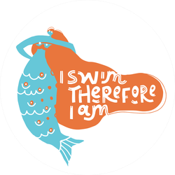 I Swim Therefore I Am Stylized Mermaid Sticker