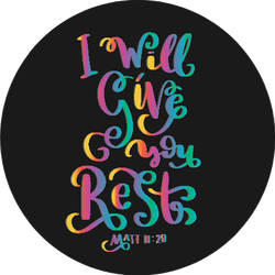 I Will Give You Rest Rainbow Bible Quote Sticker