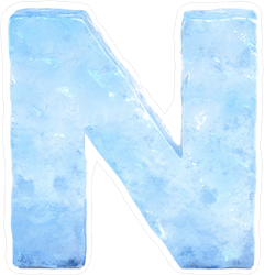 Ice Font Letter N Sticker