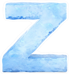 Ice Font Letter Z Sticker