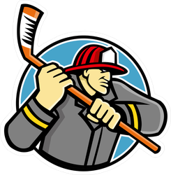 Ice Hockey Firefighter Mascot Sticker