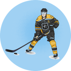 Ice Hockey Player Wearing Yellow Sticker