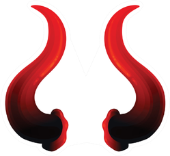 Icon Of Red Swirl Realistic Devils Horns Sticker