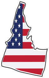 Idaho With USA Flag Sticker