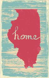 Illinois Rustic Wood Sign Sticker