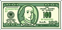 Illustrated 100 Dollar Bill Sticker