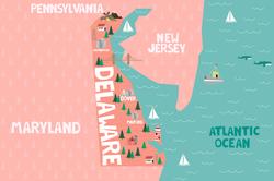 Illustrated Delaware Map Sticker