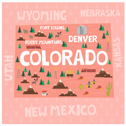 Illustrated Map Of Colorado In Pink Sticker