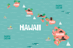 Illustrated Map Of Hawaii Sticker